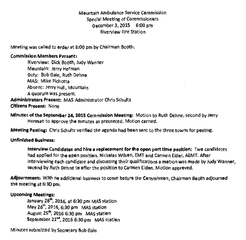 MAS Comm Mtg Minutes Dec 3, 2015